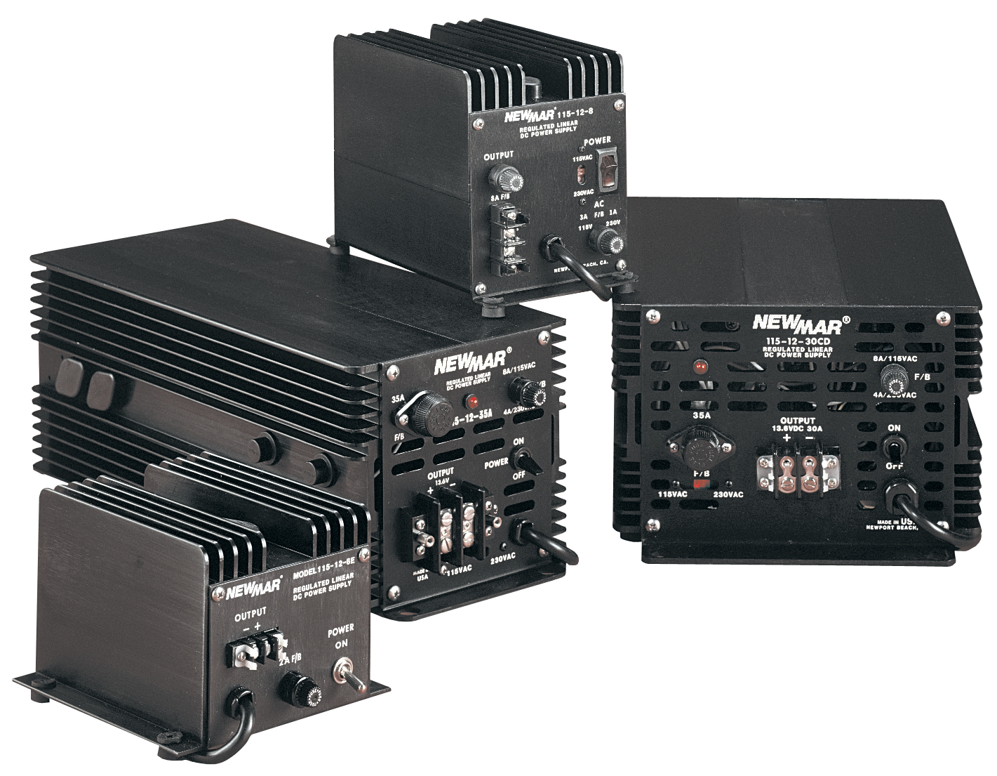 Newmar DC Power Onboard Heavy Duty Power Supplies, 115/230V AC, 12V and 24V DC, 8 - 35 Amps