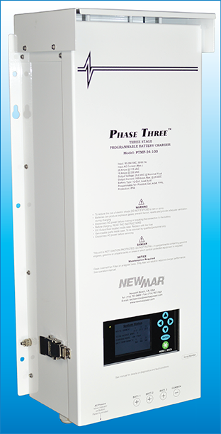 Phase Three Modular and Programmable Battery Charger, 24V DC, 100 Amp, model PTMP-24-100, image by Newmar DC Power Onboard