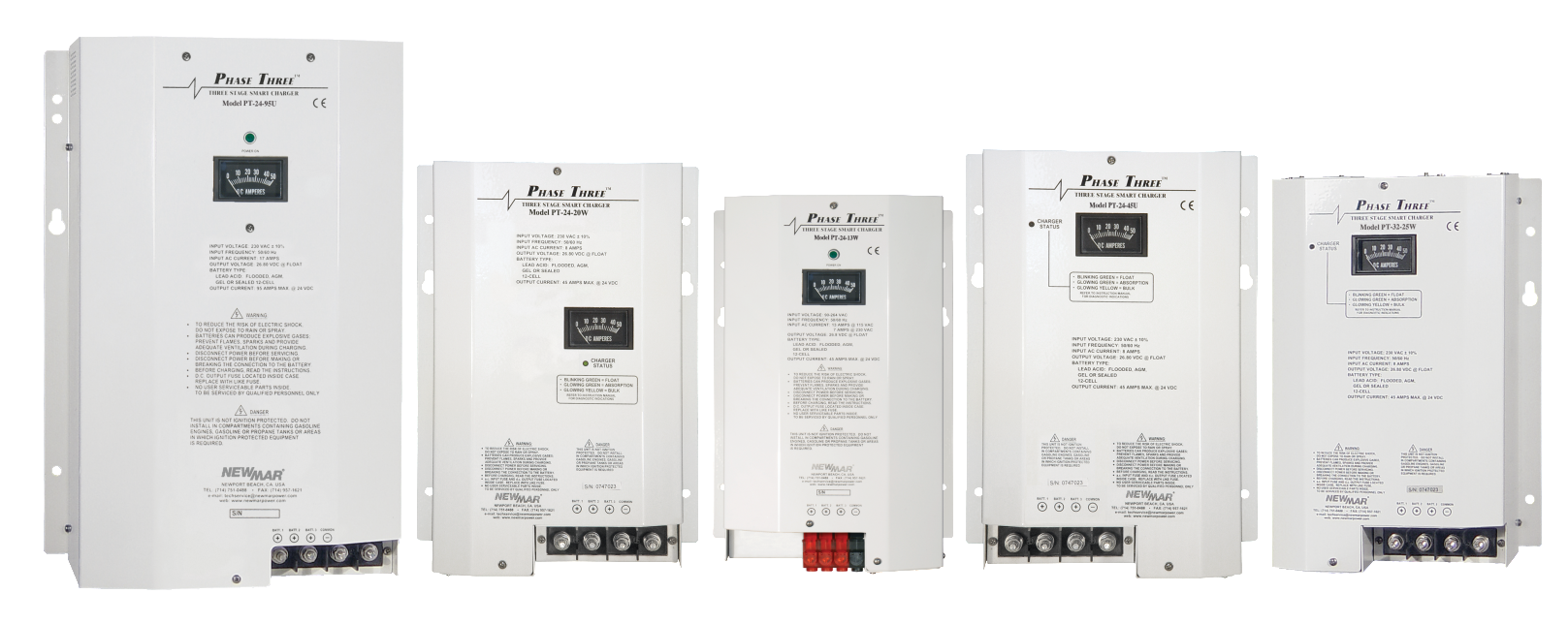 Phase Three Series Battery Chargers, 24V DC and 32V DC, 8-95 amp power rating by Newmar DC Power Onboard
